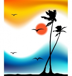 tropical sunset palm tree silhouette vector image vector image