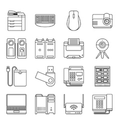Electronic devices thin line signs vector image