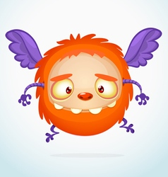 Flying halloween cartoon orange monster vector