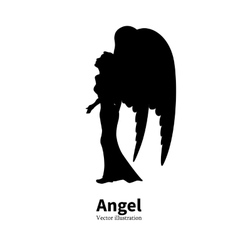 Silhouette girl with angel wings praying vector