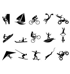 Extreme sports icon set vector