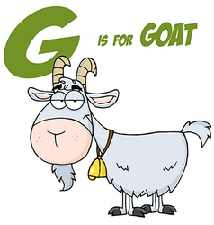 Goat cartoon character letter g vector