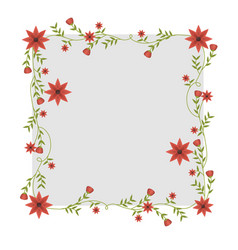 Square frame with creepers and red flowers vector