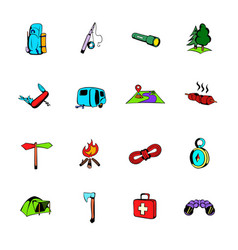 Camping comics icons set cartoon vector