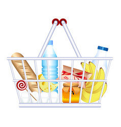 Food basket products goods vector