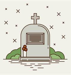 Grey gravestone with cross on green grass flat vector
