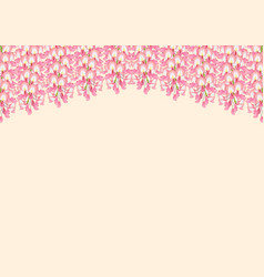 Pink wisteria isolated on beige background with vector