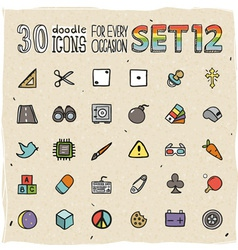 30 Colorful Doodle Icons Set 12 vector image vector image