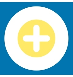 Create flat yellow and white colors round button vector