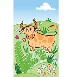 Cute cow grazing in a meadow vector
