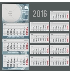 Calendar 2016 - planner for three month vector