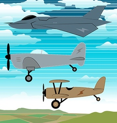 3 military planes flying together with clouds vector