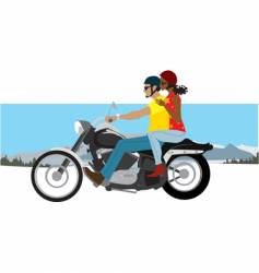 couple on motorcycle vector image