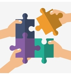 Teamwork and puzzle design vector