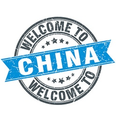 Welcome to china blue round vintage stamp vector