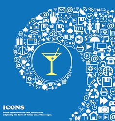 Cocktail martini alcohol drink icon nice set of vector