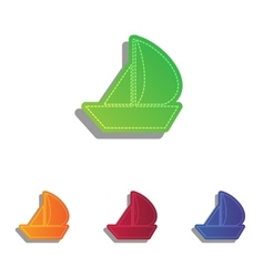 Sail boat sign colorfull applique icons set vector
