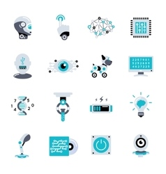 Artificial Intelligence Flat Icon Set vector image