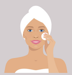 Beautiful woman with cotton pad vector