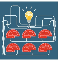 Brain and bulb light concept of idea vector