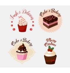 Cake and ice cream baker with berries collection vector