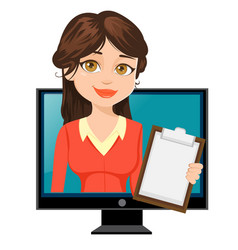 Cartoon businesswoman appears from tv cute vector