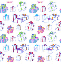 christmas gift boxes seamless pattern hand vector image vector image