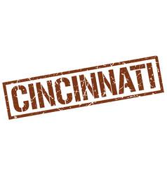 Cincinnati brown square stamp vector