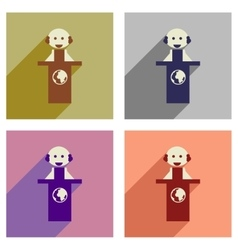 Concept of flat icons with long shadow man stands vector