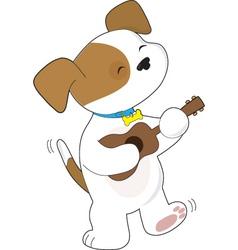 Cute puppy ukulele vector