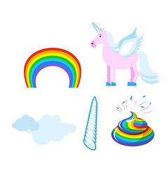 Fantastic set of unicorn Pink fabulous beast with vector image