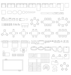 furniture and elements line symbols vector image vector image