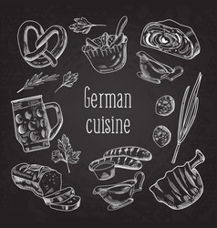German traditional food hand drawn doodle vector