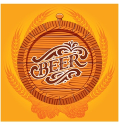 glass of beer on a yellow background for the menu vector image