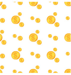 golden coins with dollar sign isolated on white vector image vector image