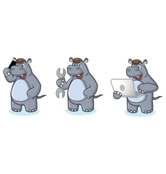 Gray hippo mascot with phone vector