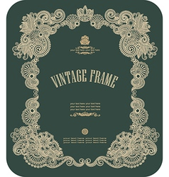 hand draw ornate floral vintage frame vector image