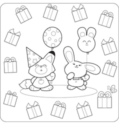 Happy birtday cute coloring animals vector