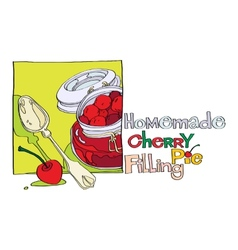 Homemade cherry pie filling vector