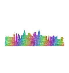 Las vegas skyline silhouette - multicolor line art vector