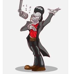 Monster in Halloween night skeleton singing vector image