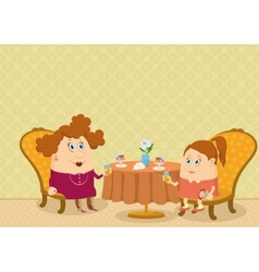 Mother and daughter in Restaurant vector image vector image