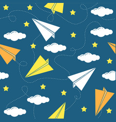 Paper airplane seamless pattern vector