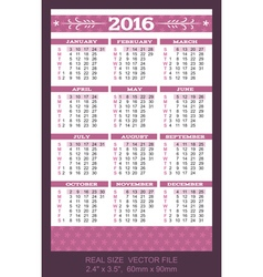 Pocket Calendar 2016 start on Sunday vector image