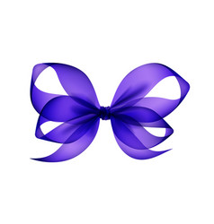 Purple bow top view close up on background vector