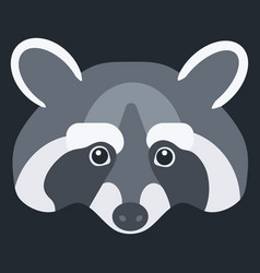 raccoon flat icon vector image vector image