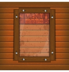 restaurant menu wooden frame and glass light vector image vector image