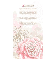 Romantic background with pink roses vector image vector image