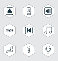 set of 9 music icons includes microphone mike vector image vector image