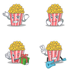 Set of popcorn character with successful smirking vector